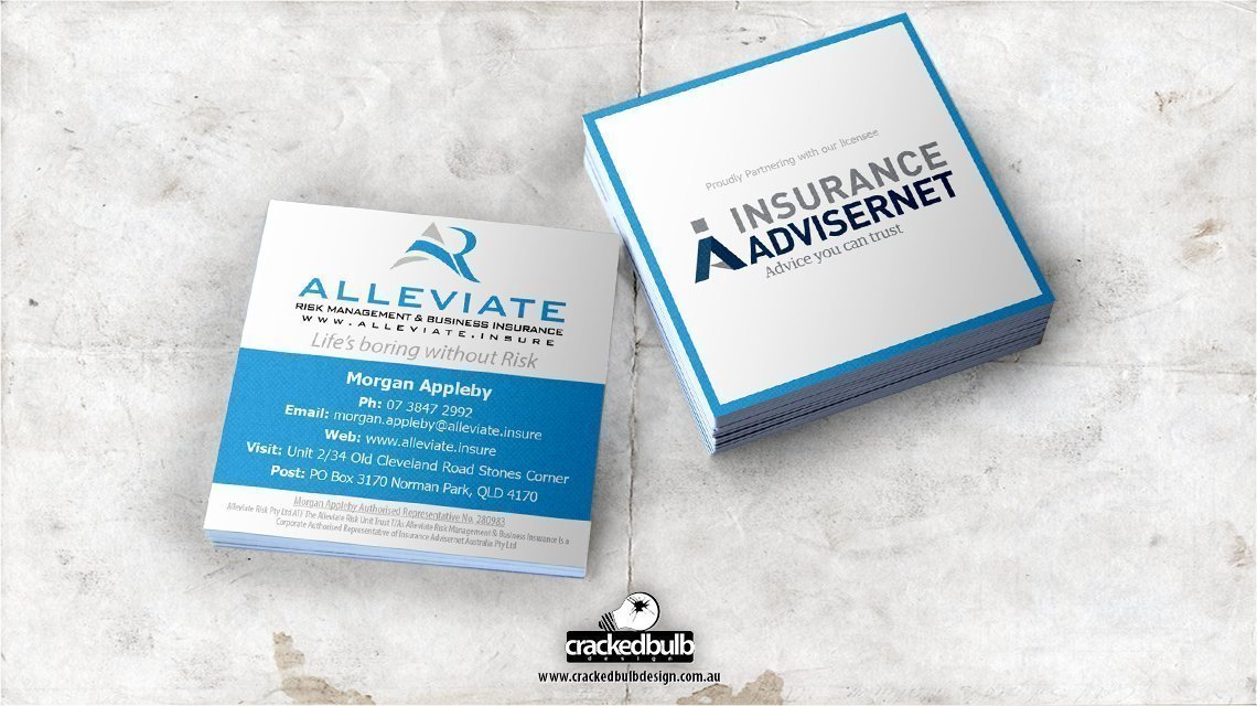 Alleviate Risk Management Business Card Design - Cracked Bulb Design ...
