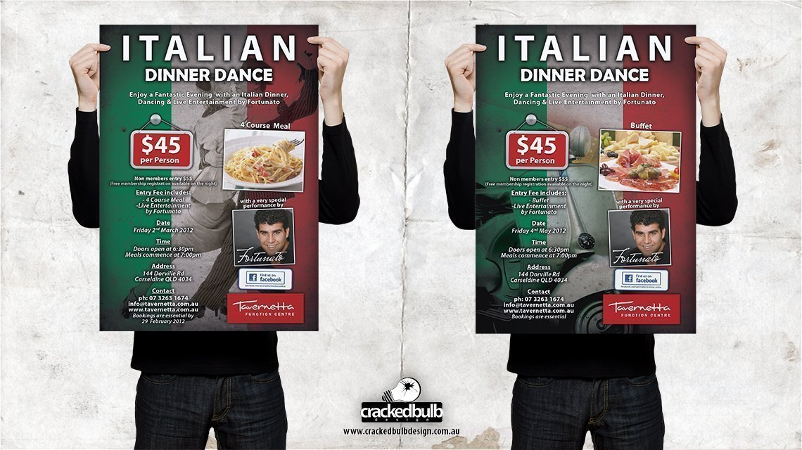 Tavernetta-function-centre-italian-dinner-dance-posters-print-design-brisbane-cracked-bulb