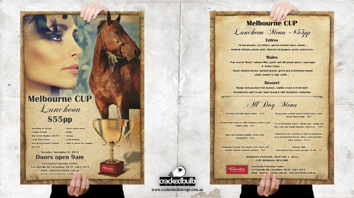 Tavernetta-function-centre-melbourne-cup-event-posters-print-design-brisbane-cracked-bulb