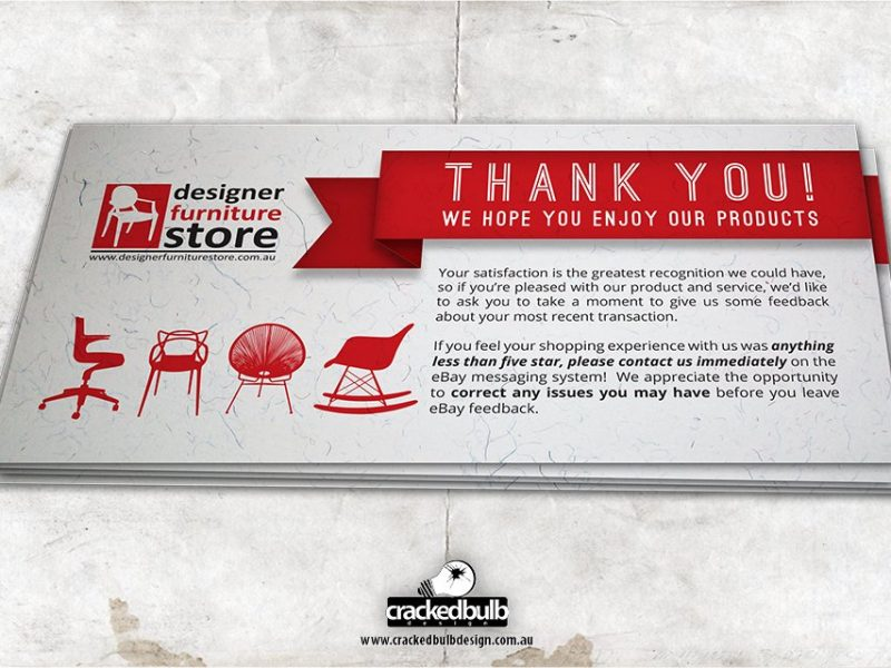 Designer Furniture Store Thank you Cards Design