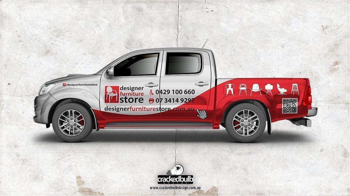 designer-furniture-store-truck-ute-vehicle-print-design-brisbane-cracked-bulb