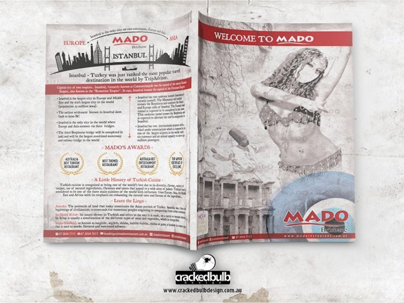 Mado Turkish Restaurant Main Table Menu Design