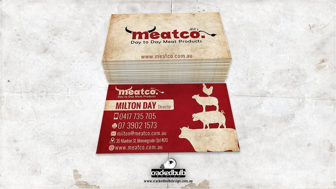 Meatco Business Card Design - Cracked Bulb Design | Web design ...