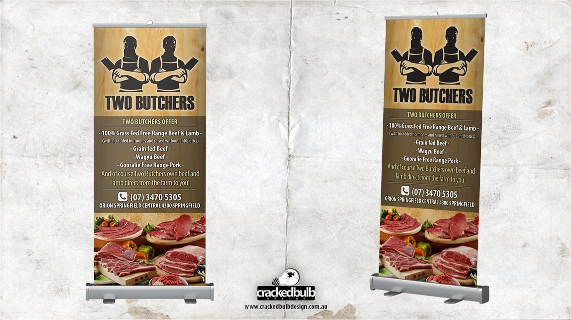 two-buthchers-pull-up-banner-signage--print-design-brisbane-cracked-bulb