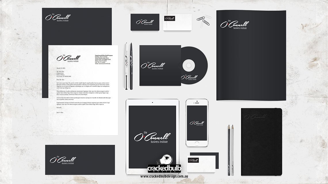 oconnel-business-institute-corporate-identity-print-design-brisbane-cracked-bulb